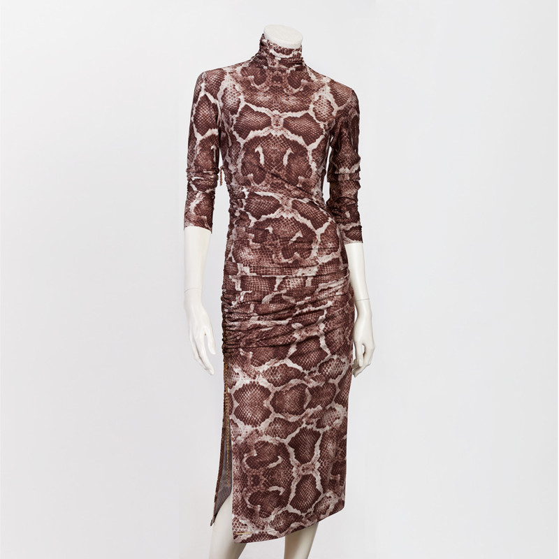 SNAKESKIN DRESS IN BROWN