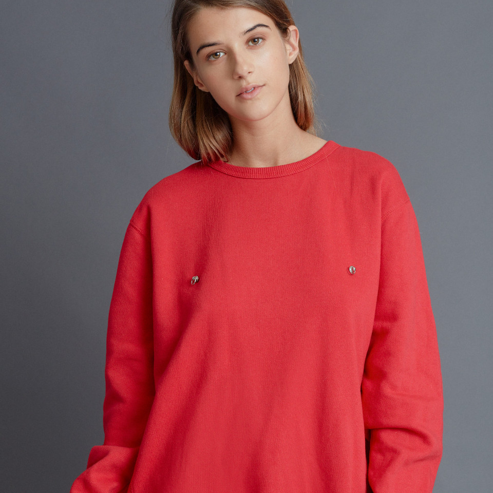 PIERCED JUMPER, RED