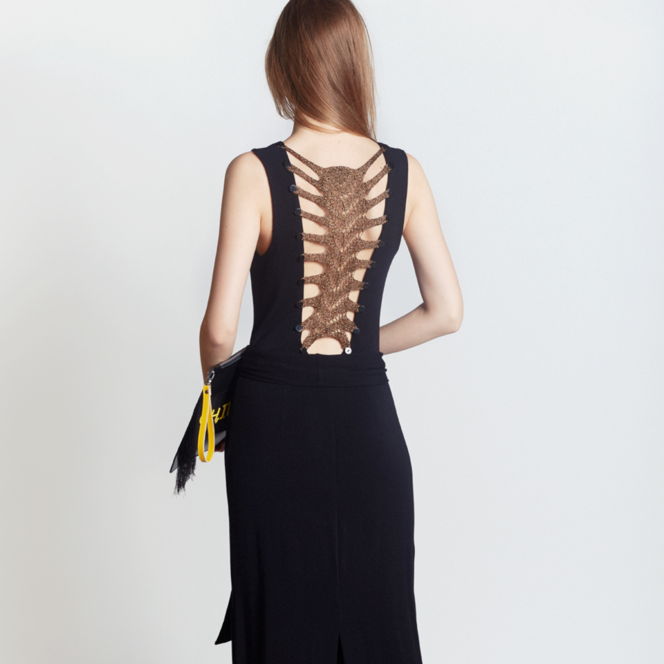 SKELETON DRESS, BLACK