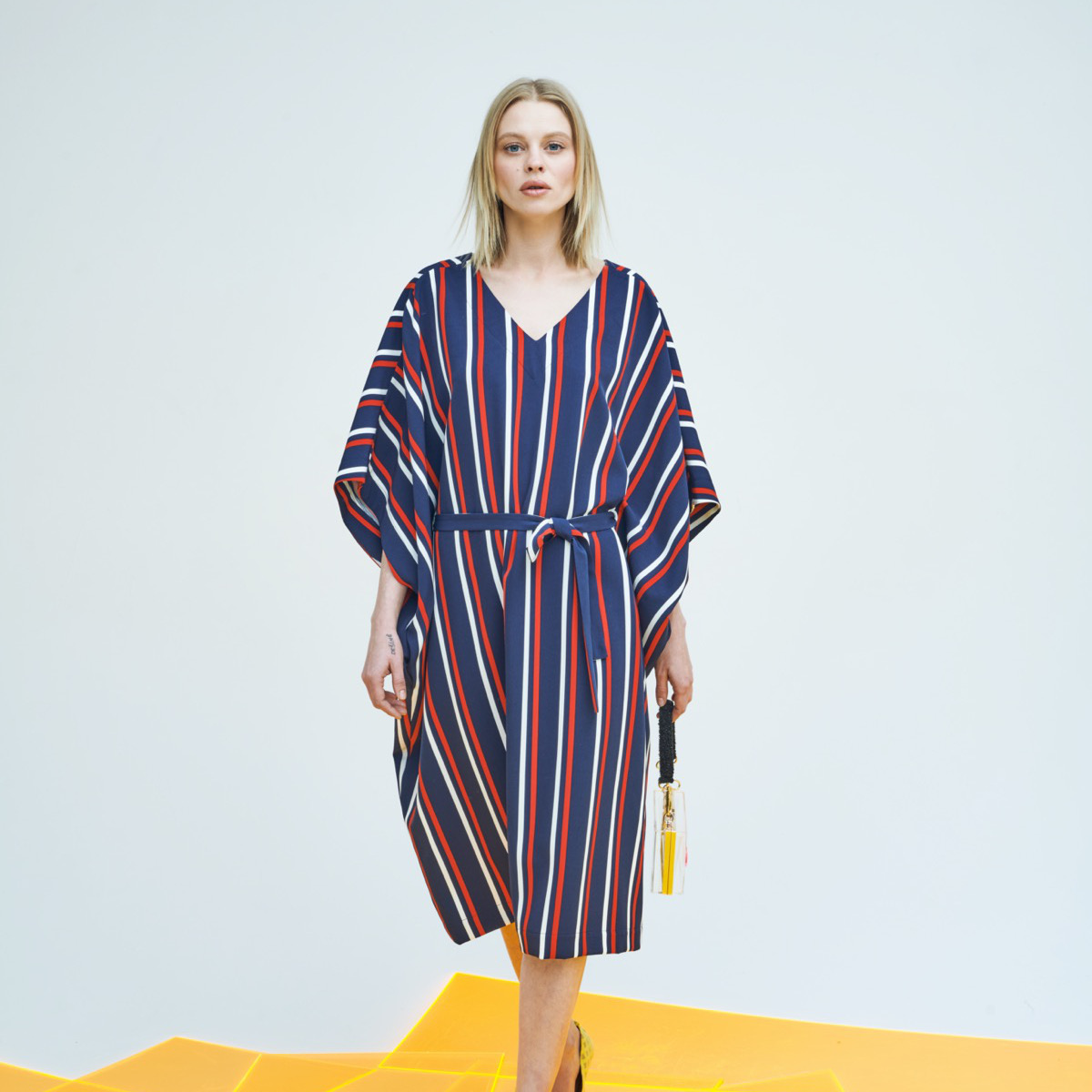 STRIPED PARASOL DRESS IN BLUE