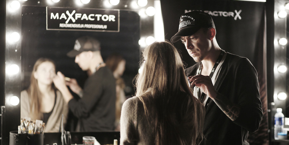 "Head makeup artist for ""Max Factor Lithuania"" comes back from Dubai specially for Robert Kalinkin fashion show"