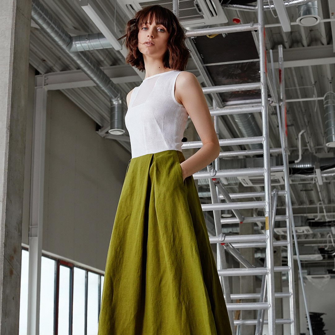 "Floor-length ""Storm"" dress (white + light green)"