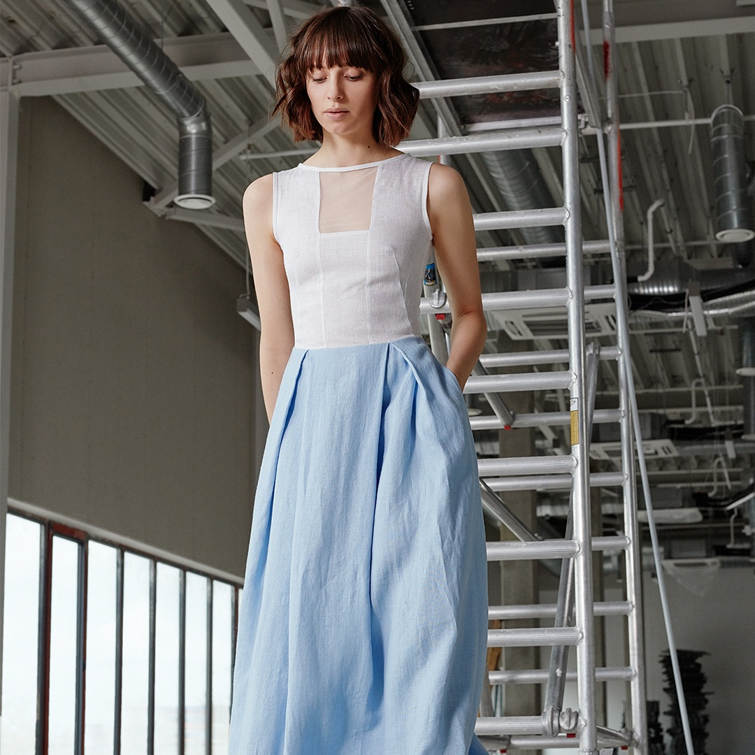 "Floor-length ""Storm"" dress (white + light blue)"