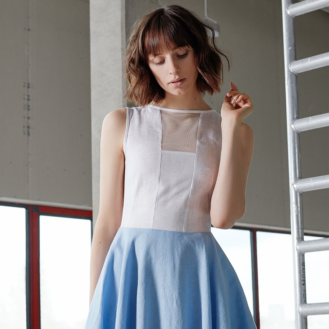 """Storm"" dress with front tulle (white + light blue)"