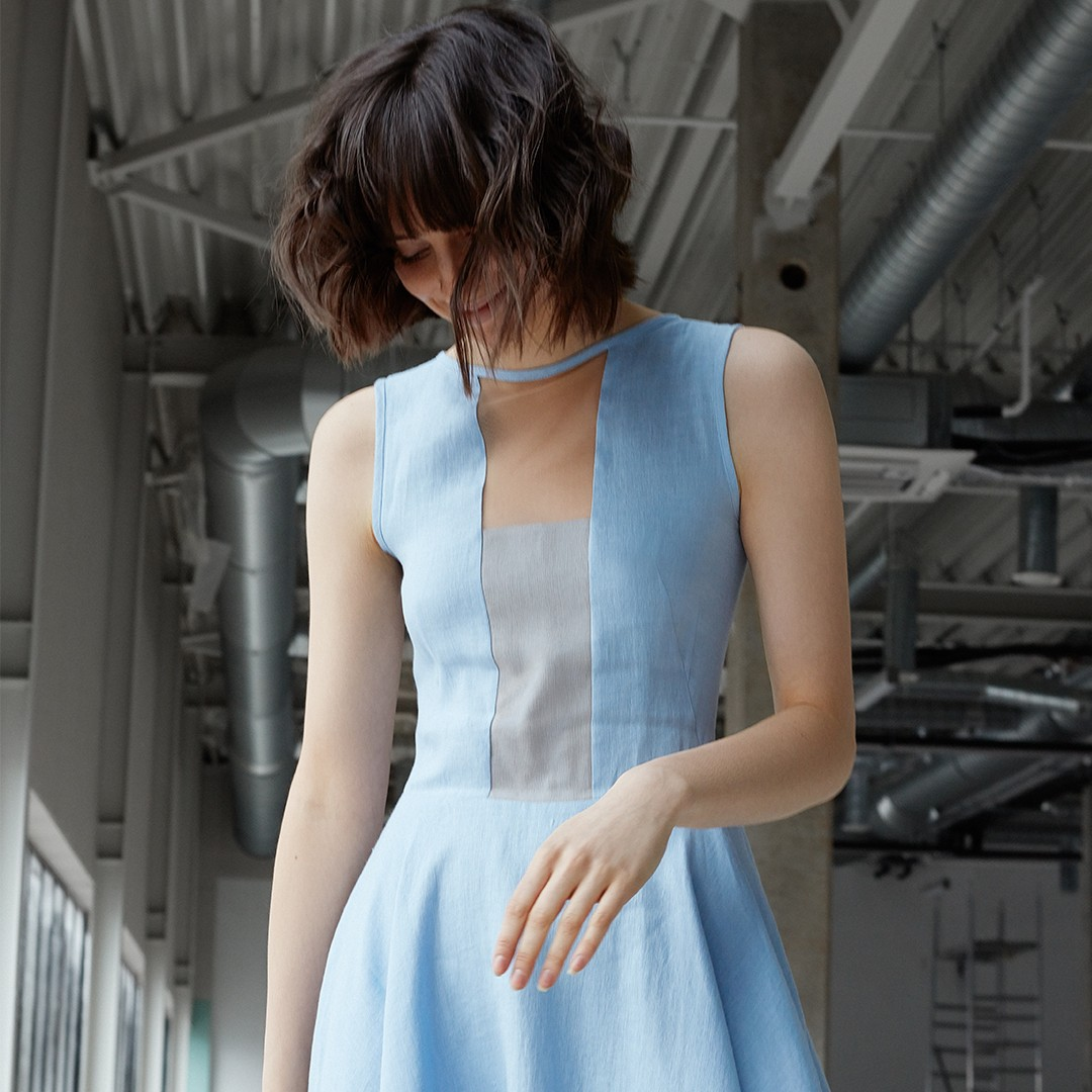 """Storm"" dress with front tulle (light blue)"