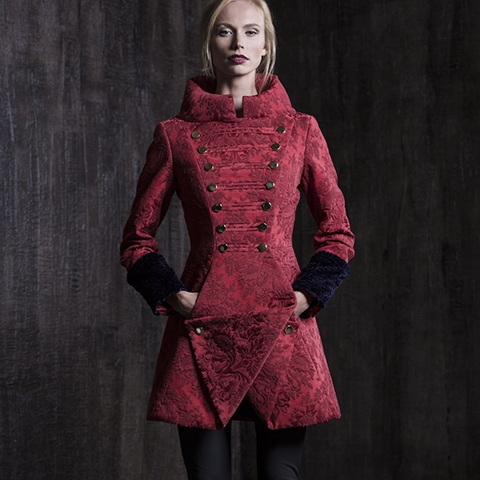 DEEP RED BAROQUE COAT