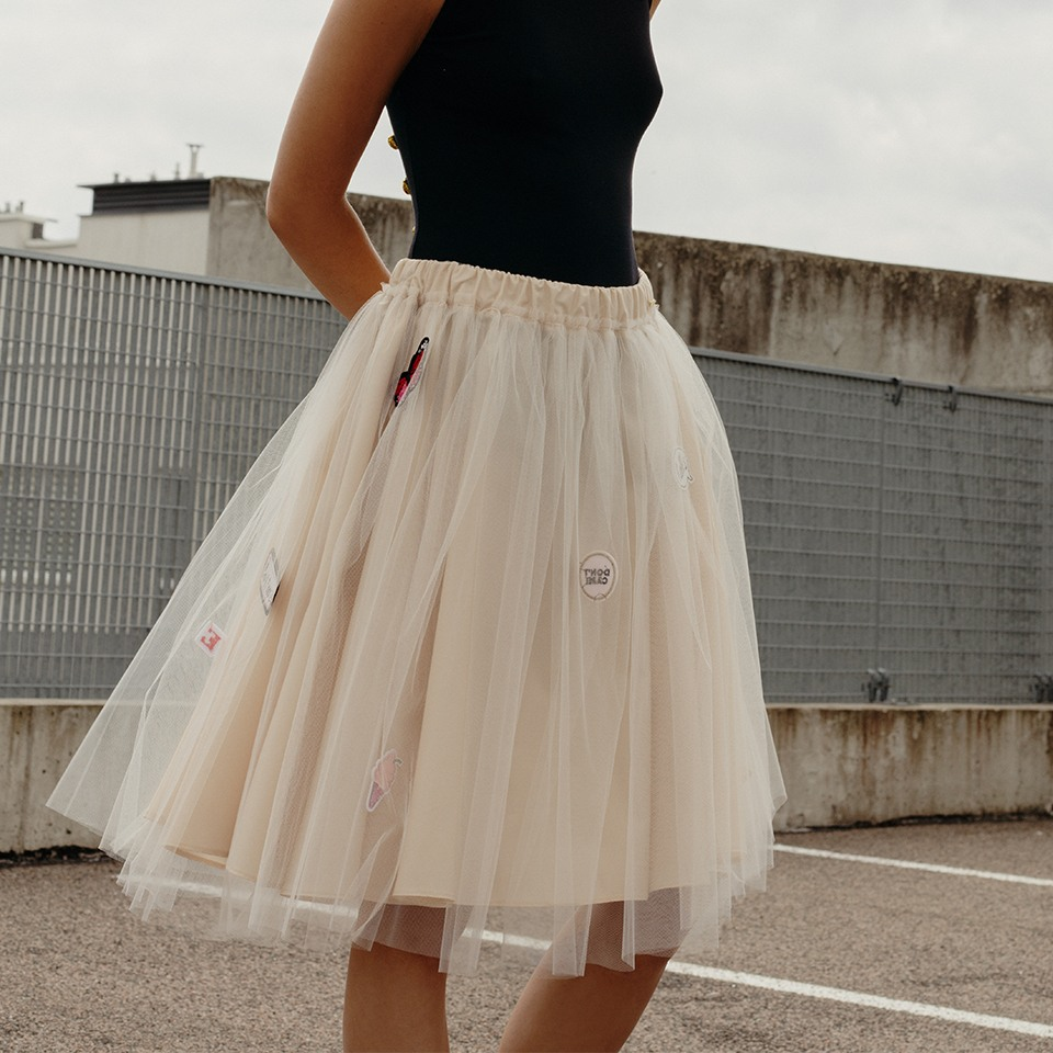 Nude Aurora skirt with stickers