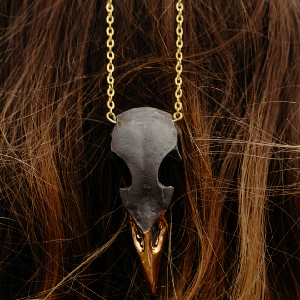 Bird skull pendant in grey